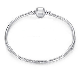 Free shipping size 17-21cm 925 Silver Plated Bracelet Snake chain with Barrel Clasp diy beads Fit Pandora Logo Bracelet Jewelry pulseras