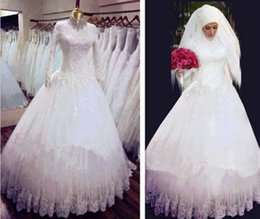 New Style Fresh Looking Muslim Long Sleeves High Neck Wedding Dresses Ball Gown Arabic Bridal Gowns