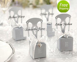 Wholesale Wedding Faovrs Miniature Silver Chair Favor Box with Heart Charm Ribbon Paper card Cheap Party Favors