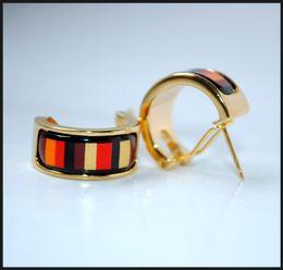 Khaki Stripe Series Hoop earring 18K gold-plated enamel earrings for woman Top quality hoop earrings