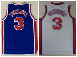 Wholesale Discount Drazen Petrovic Jerseys Unfiorms Rev New Material Throwback Drazen Petrovic Shirt Home Alternate Blue White Best Quality