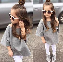 Wholesale 2016 New Autumn Ins Baby Girls Cotton Tops Sweatshirt Cute Kids Off Shoulder Bat wing Sleeve Tshirt Children Loose Pullovers Gray Sweatshirt