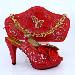 Wholesale New Arrival Fashion Rhinestone Beautiful Shoes And Bag Set Italian summer Style Shoes And Matching Bag Set For Party