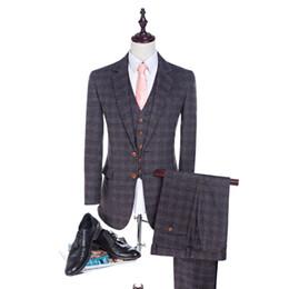 Wholesale 2017 High Quality Herringbone Wool Suits Plaid Men suits Tailored Suit Blazer Suits For Men pieces Jacket Pants Vest