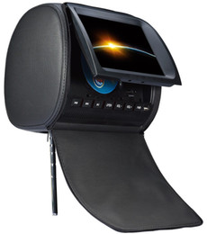 Wholesale 2x quot headrest car dvd USB SD FM IR game remote control OSD language AV leather zipper digital panel