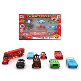 Wholesale Pixar Car Mack Mater Sheriff Cars Sally Chick Hicks quot Mack quot Truck Toy Alloy Mini Car Kids Gift Pull Back Car Set