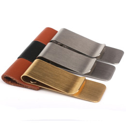 High Quality Copper and Stainless Steel Metal Money Clip with Leather Pen Cap Fashion Simple Gold Silver Dollar Cash Clamp Holder