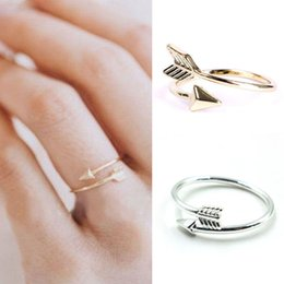 Women Girl Fashion Rings Gold Silver Adjustable Arrow Open Knuckle Ring Jewelry