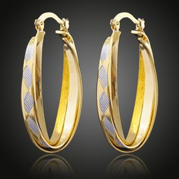 Assiettes en porcelaine pour à vendre-2016 Nouveaux produits 18K plaqué or double couleur argent doré en laiton cuivre cercles boucles d'oreilles accessoires bijoux de mode fabriqués en Chine