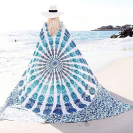 Wholesale 5 Colors Chiffon Bohemia Square Beach Towel Beach Shawl Meditation Mandala Towels Hippie Peacock Tapestry Wall Hanging cm
