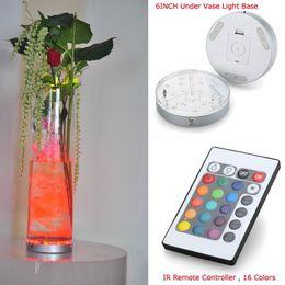 20pieces lot Hot Sale Wedding Centerpiece Lighting!!! 6inch Diameter 19 Multi-colors Round LED Under Vase Light Base