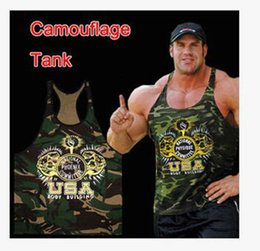 Wholesale Burst Models Fitness Clothes In Europe And America Tops Cotton Men Fitness Vest Camouflage Gold GYM Tank Top printing loose t shirt