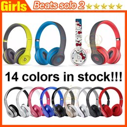 Wholesale Used Beats solo2 Wireless Active collection Headphones rose gold helloKitty solo Bluetooth Headset brand new retail box With Serial code