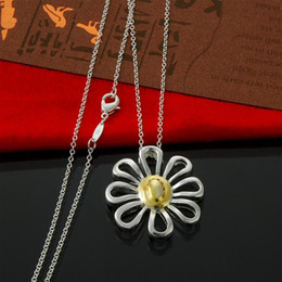 Factory direct Pendant Necklaces Jewelry 925 sterling silver thin Chain Necklace Fashion Color Chrysanthemum Silver Necklace