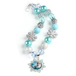 Wholesale PrettyBaby toddler jewelry blue chunky bubblegum necklace girl snowflake pendant elsa necklace handmade beaded choker necklace rhinestone