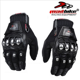 2016 New MADBIKE motorcycle racing riding glove Off-road motorcycle gloves alloy Steel breathable drop resistance black red blue M L XL XXL