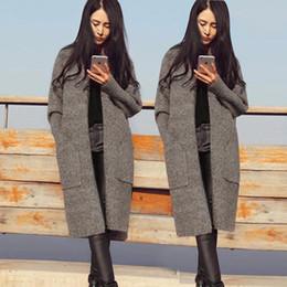 2016 noir cardigan tricoté 2016 Longue Cardigan Femmes Automne Hiver Chandail Femmes solides Mesdames manches longues en maille Cardigans Pull gris Camel Noir Couleur peu coûteux noir cardigan tricoté