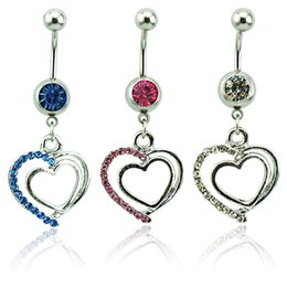 Body Piercing Fashion Belly Button Rings 316L Stainless Steel Barbells Dangle Rhinestone Double Heart Navel Rings Jewelry