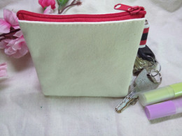 Wholesale Fashion Cream White pure cotton canvas coin purses DIY blank plain small bags w black zipper unisex casual wallets key pouches