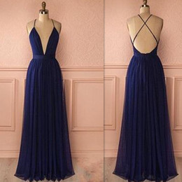 2017 Dark Navy Backless Evening Dresses Chiffon Deep V-neck Spaghetti Straps A-line Long Prom Party Gowns Cheap Price Simple