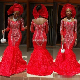 Chic Red Aso Ebi Style Mermaid Evening Dresses 2019 Arabic Off The Shoulder Luxury Crystal Ruffles Train Formal Plus Size Mother Dresses