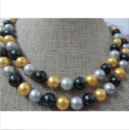2row natural 9-10 mm south sea black gray yellow Pearl Necklace 14k Golden Clas@