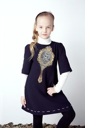 Wholesale Wlmonsoon Girls Dresses Autumn Winter Designer Princess Dress For Girls Print Kids Dresses for Girls Clothes