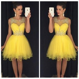 Sheer Yellow Short Mini Homecoming Dresses Beaded Crystal Custom 2017 Sleeveless Formal Prom Party Gowns Cheap Pleated Ruched Formal Wear