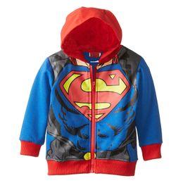 Wholesale Kids Superman Winter Coats - Boys superman Hoodies Sweatshirts 2016 autumn NEW children Superhero Movie Long sleeve Hoodie jacket kids coat B001