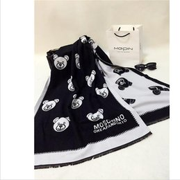 Wholesale Bear Head Scarf for Winter Women brand designer scarfs warm long section of thicker scarf bear print double faced all match cape