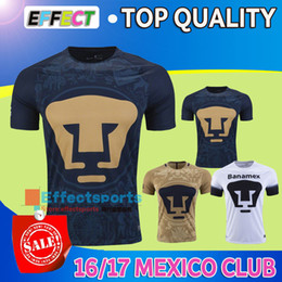 Wholesale Top Quality Mexico club Pumas UNAM Home Gold Away blue soccer jerseys Maillot De Foot Cougar Pumas UNAM football Shirts