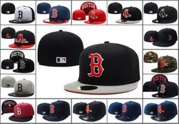 Wholesale Men s Boston Red Sox Fitted Hats with Red Letter B Logo Women s Sport Baseball On Field Red Socks Full Closed Caps Mix Order Accpeted