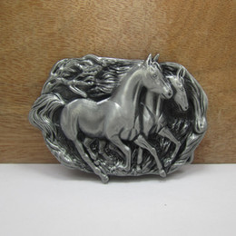 BuckleHome Metal horse belt buckle animal belt buckle western belt buckle with pewter FP-02835 free shipping