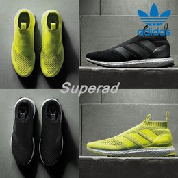 Wholesale Adidas Ace PureControl Ultra Boost Black White Solar Yellow Men Running Shoes Sneakers Originals FashionRunner Primeknit Casual Shoes
