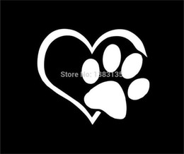 Wholesale Exterior Accessories Car Stickers Heart Paw Vinyl Decal car truck sticker bumper window adopt bully Heart cat dog Laptop Boat Truck AUTO