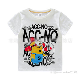 2 color Cartoon small yellow people boy short-sleeved summer cheap fashion baby T-shirt round neck cotton kids clothes in stock 5pcs A27