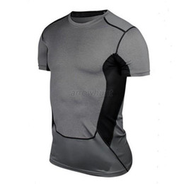Wholesale-Mens Sports Compression Wear Under Pro Base Layer Short Sleeve T-Shirts Athletic S-XXL