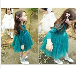 Wholesale Kids Long Tutu Skirt Ankle - Wholesale Lovely Baby Girls Dresses 2016 New Autumn Long Sleeve Cute Tutu Skirt Kids Birthday Party Gowns Three Colors Free SHipping MC0088