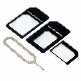 4 In 1 For NANO SIM Adapters With Card Pin For iPhone 4 4S For iPhone 5 5S 5C cheap durable for NANO SIM Card Transformation