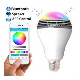 Wholesale LED Bluetooth Speaker RGB Wireless Colorful lamp RGB tricolored light W W Bluetooth Audio bulbs with App google store