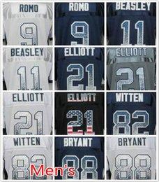 Wholesale Cowboys Tony Romo Jason Witten Dez Bryant Ezekiel Elliott Cole Beasley Men s football jerseys M XXXL Embroidery logo