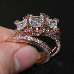Compra Online Piedras preciosas conjunto de plata de ley-La moda de lujo 925 joyería de oro de ley silverrose establecen tres Plaza de piedras preciosas Anillos CZ coloca el dedo anular de la novia de la boda para las mujeres