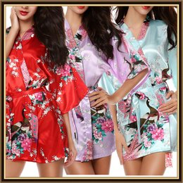 Wholesale Short Black Silk Robes - Luxurious Women's Japanese Silk Kimono Robe Pajamas calico Nightdress Sleepwear Broken Flower Kimono Underwear Short Robes CL-WQ08