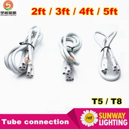 Wholesale LED tube lights using cm cm cables connector for Integrated T8 T5 led tubes series connection double end three hole new