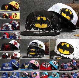 Wholesale Hat Batman Spiderman Iron man children cap cartoon kids performing hip hop baby hat Flat eaves baseball cap Sports happy gifts DHL