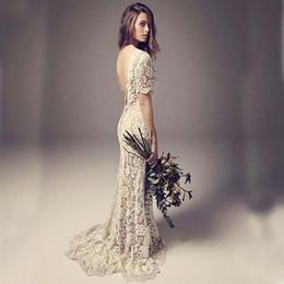 Wholesale Vintage Wedding Dresses gaine colonne Backless pleine dentelle Boho Robes de mariée avec manches courtes Illusion balayage train pas cher Haute Qualité