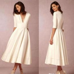 Deep V Neck New BHLDN Beach Wedding Dresses Half Sleeves A Line Tea Length Satin Party Gowns Cheap Bridal Dresses