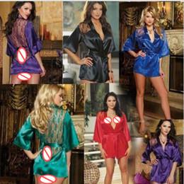 Wholesale customized Women BathRobe silk robe nightgown Satin Lace Yukata Bathrobe Lingerie Underwewar Sleepwear With Belt Plus Size sleep dress S XL