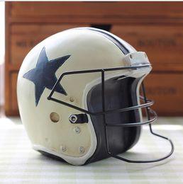 Wholesale American football helmet Ice hockey helmet environmental protection resin handicraft Creative furnishing articles photo props