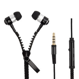 Wholesale Zip Metal Handsfre Stereo mm Jack Bass Earbuds Earphones braided in ear Metal with Mic Earbuds Zip Zipper for iPhone Samsung With Mic